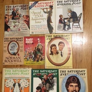 9 Vintage Saturday Evening Post Magazines